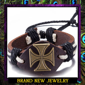 Unisex Leather Cross Adjustable Bracelet #409